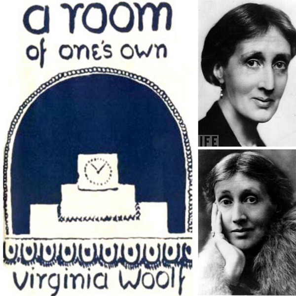 First edition cover of A Room of One's Own (left) and Virginia Woolf (top and bottom right)