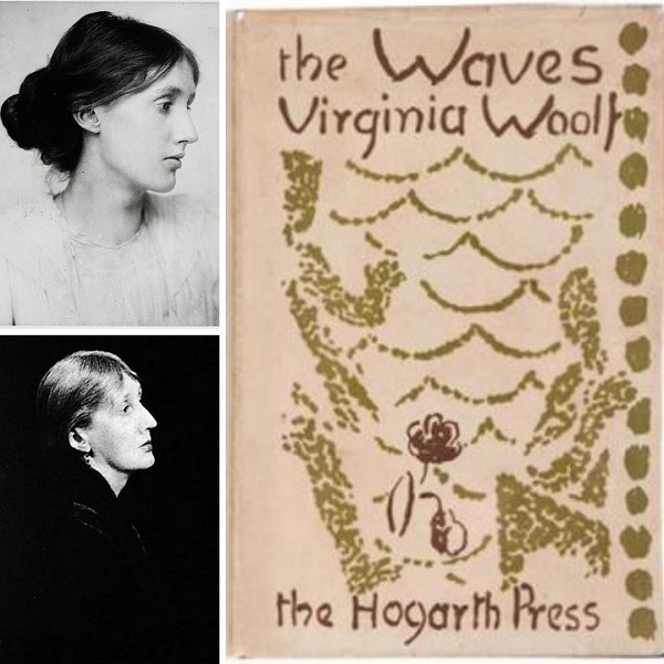 First edition cover of The Waves (right) and Virginia Woolf in 1902 (top left) and Virginia Woolf in 1931 (bottom left)