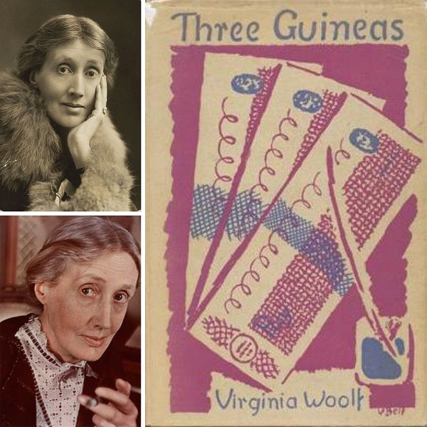 First edition cover of Three Guineas by Virginia Woolf (right) and Virginia Woolf in 1927 (top left) and Virginia Woolf in 1939 (bottom left)