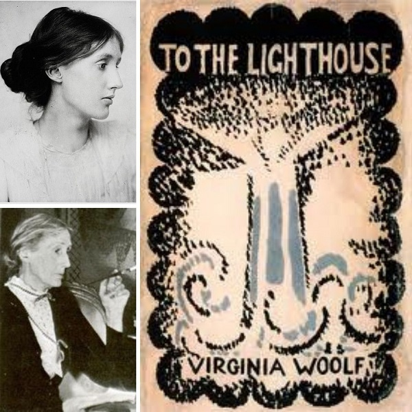 First edition cover of To The Lighthouse (right) and Virginia Woolf in 1902 (top left) and Virginia Woolf in 1931 (bottom left)