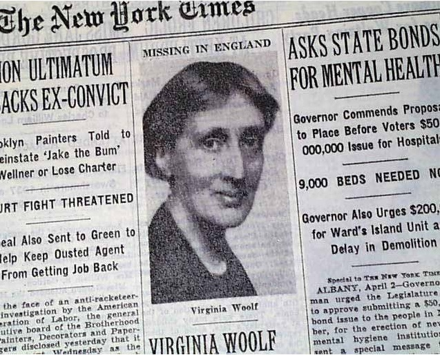 """New York Times headline """"Virginia Woolf Missing In England"""" published on April 3, 1941"""