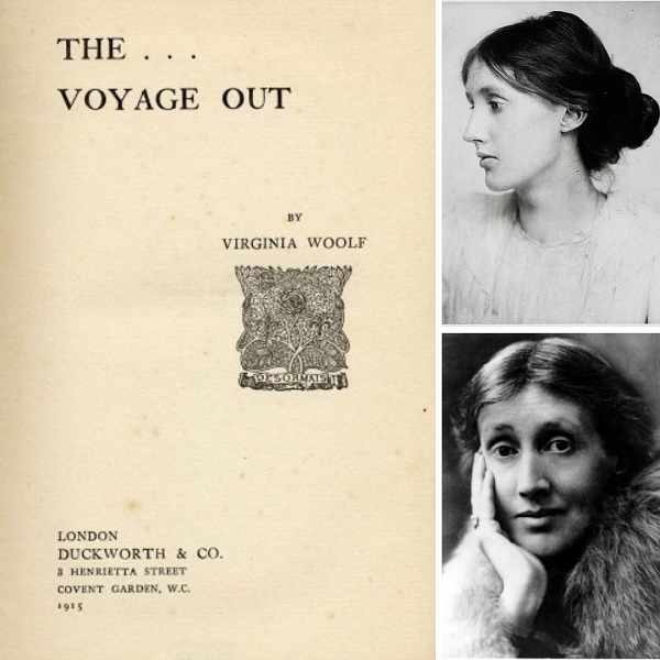 First edition cover of Voyage Out by Virginia Woolf (left), Virginia Woolf in 1902 (top right), Virginia Woolf in 1927 (bottom right)