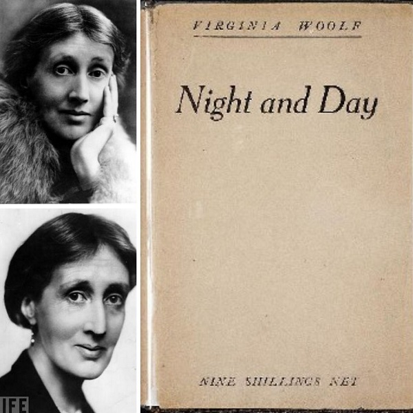 First edition cover of Night and Day (right) and Virginia Woolf in 1927 (top left) and Virginia Woolf in 1930 (bottom left)