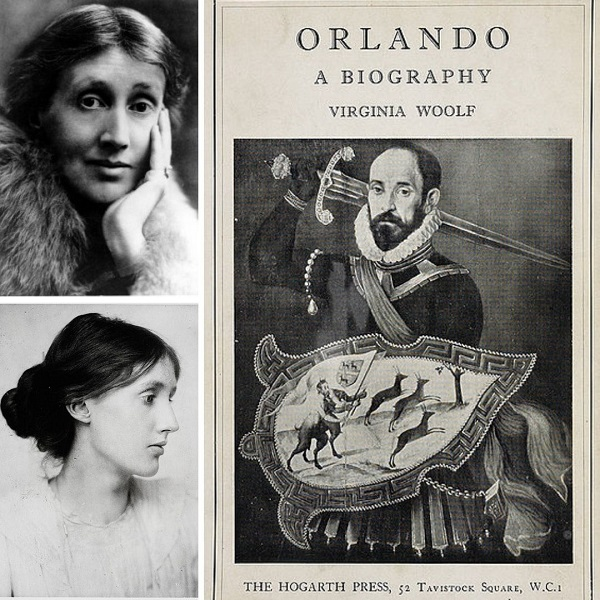 First edition cover of Orlando: A Biography (right), Virginia Woolf in 1927 (top left) and Virginia Woolf in 1902 (bottom left)