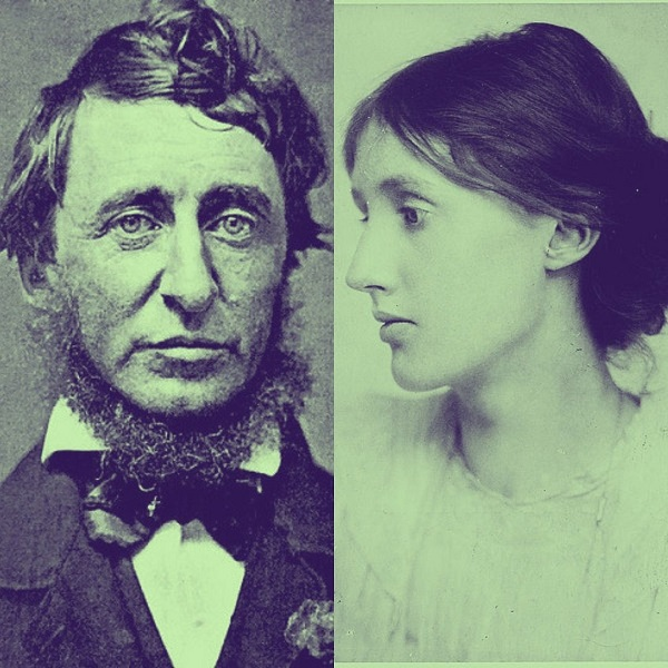 Henry David Thoreau in 1856 (left) and Virginia Woolf in 1902 (right)